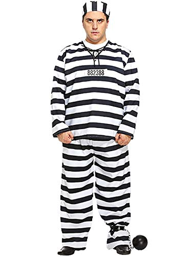 MA ONLINE Mens Black White Striped Print Prisoner Outfit Adults Fancy Stag Do Party Costume One Size Chest 42-44 Inch -