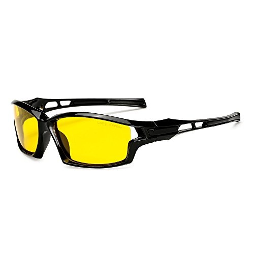 Night Vsion Sunglasses for Men Women Cycling Running Fishing Driving Yellow Lens Glasses By Long - Gift Bike Performance Card