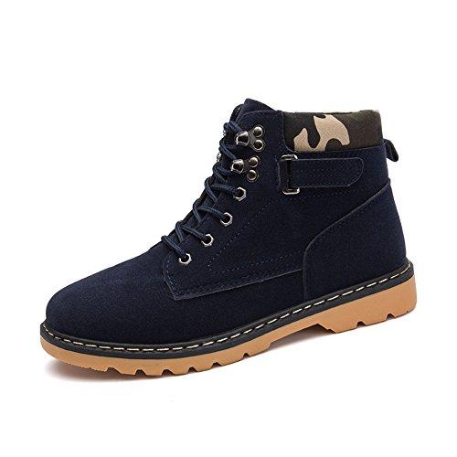 Lace top Pelliccia High Inverno Lavoro Durevole Blu Stivali Uomo all'aperto Neve stivali Hishoes Antiscivolo Boots Martin da Scarponi Scamosciato Scarpe Up Caldo 8xWqzw5wP0