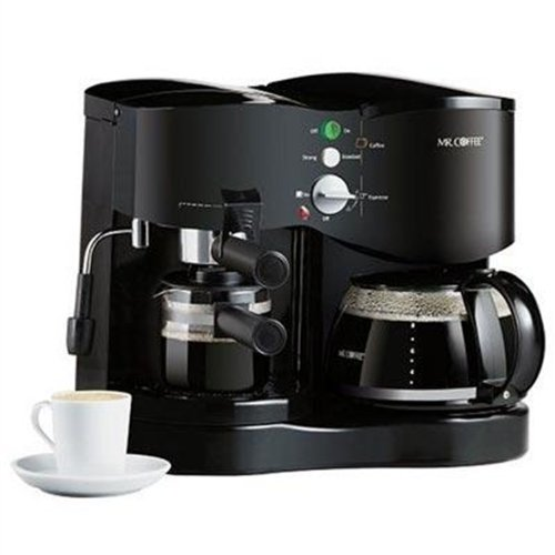 Mr. Coffee ECM21 4-Shot Espresso Machine and 8-Cup Coffeemaker Combo, Black