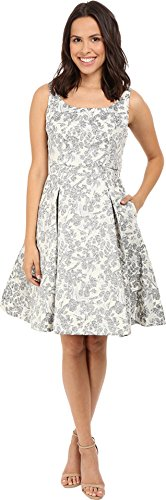 Maggy London Women's Spring Floral Brocade Fit-and-Flare Dress, Black, (Brocade Party Dress)