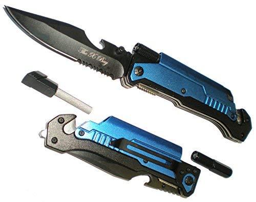 Blue 7 In 1 Rescue Survival Knife LED Flashlight + Glass Breaker + Fire Starter + Seat Belt Cutter + Bottle Opener + Sharpener