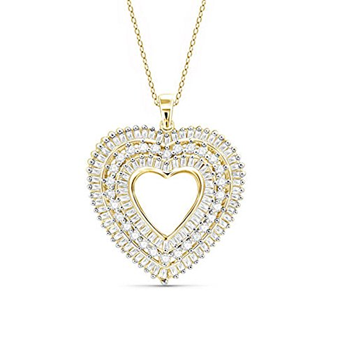 - TrioStar 925 Sterling Silver Infinity Love Heart Necklace Yellow Gold Plated Round & Baguette CZ Diamond Fine Woman's Jewelry 18