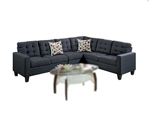 Modern Contemporary Polyfiber Fabric Modular Sectional Sofa (Black)