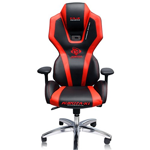 41vffUTVIIL - E-Blue Auroza Gaming Lighting Chair High Grade PU Leather PC Gaming Racing Bucket Seat Office Ergonomic Computer eSports Desk Executive LED Lights EEC301R (Black and Red)
