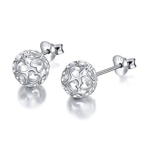 S925 Sterling Silver Heart Round Small Ball Clip Stud Heart Earrings for Women Girl