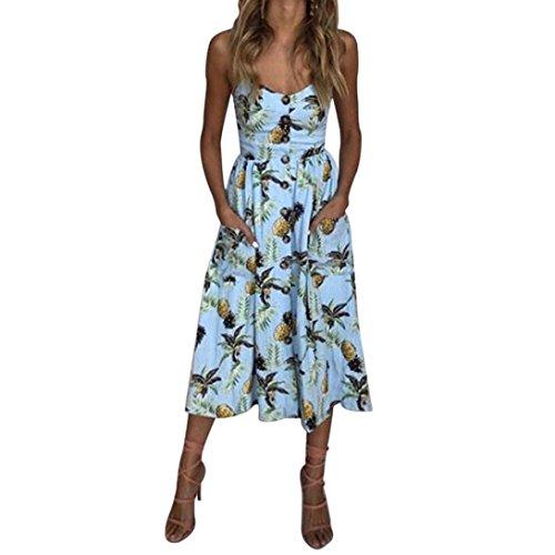 Keepwin Mujer Verano Sexy Vestido Sling Casual Impresiones Rayas Faldas Largas Botones Faldas Casual Fuera del Hombro Vestido Sin Manga EleganteTrapecio De Faldas Suelto Azul#1