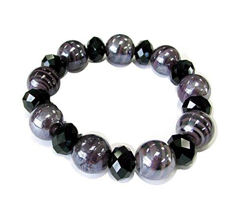 Linpeng Spiral Lampwork Glass Beads & Faceted Barrel Crystal Beads Stretch Bracelet_BR-1291