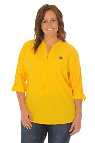UG Apparel NCAA East Carolina Pirates Adult Women Plus Size Button Down Tunic, 2X, Gold - Carolina University Embroidery