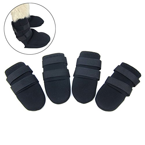 Dog Designer Boots (Alfie Pet by Petoga Couture - Grayson All Weather Set of 4 Dog Boots - Color Black, Size: Small)