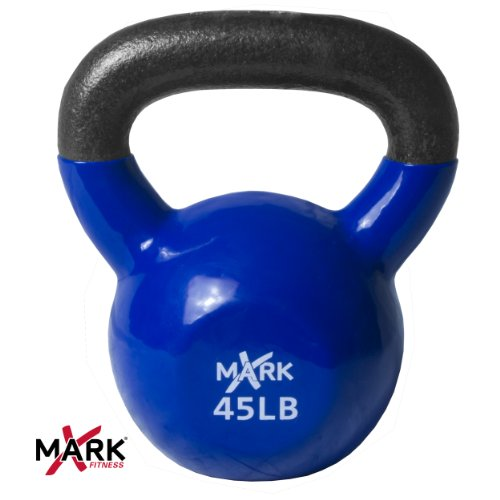 XMark Premium Quality Solid Cast Iron Vinyl Coated Kettlebell - 45 lb. Single