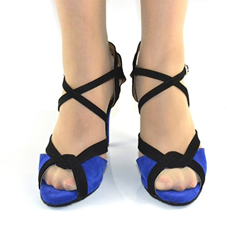 Rumba Modern Shoes Samba Wedding Ankle TDA Dance Strap Blue Womens Suede UnqYqwFI