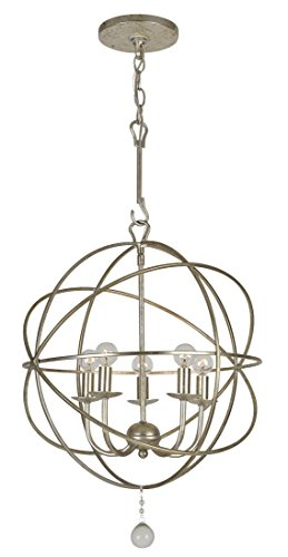 Lighting Heart Transitional Chandelier (Crystorama 9224-OS Transitional Five Light Mini Chandelier from Solaris collection in Pwt, Nckl, B/S, Slvr.finish, 17.00 inches)