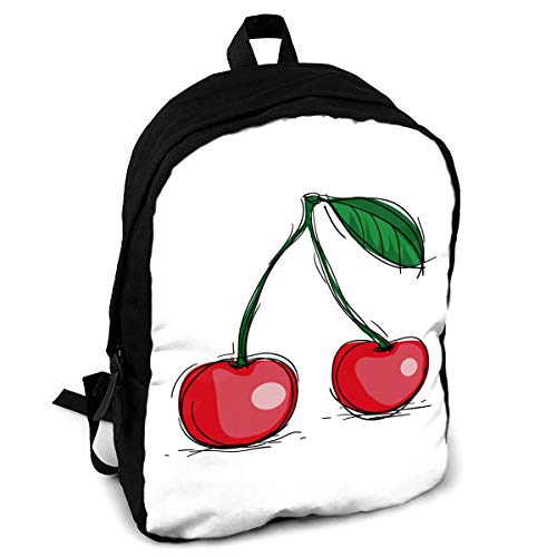 FSXIK Hand Painted Cherry Boys Girls School Rucksack College Bookbag Lady Travel Backpack Laptop Bags