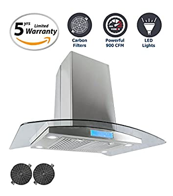 Cosmo 36 in. 900 CFM Ductless Island Range Hood with with Tempered Glass Visor, LCD Display Touch Control Panel Island Mount Kitchen Vent Cooking Fan Range Hood with Carbon Filters and LED Lighting