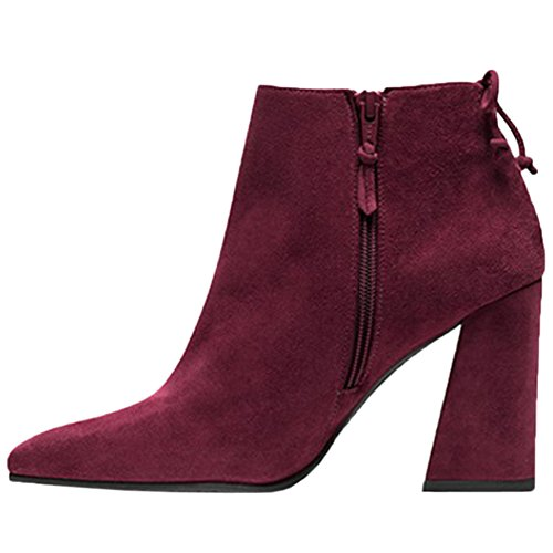 HooH Mujer Chelsea Botas Suede Pointed Toe Lace Up Tacón ancho Botines Rojo