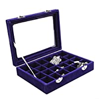 Pasutewel Earring Storage Case 24 Compartments Ring Velvet Display Case Box Earring Ring Organizer Velvet Jewelry Tray Cufflink Storage Showcase with Clear Glass Lid Blue