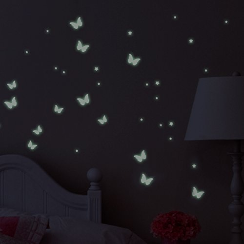 Wandkings Glow-in-the-Dark Decals Butterflies & Stars 78 stickers on 2 US letter sheets (each 8.3 x 11.7 inch)