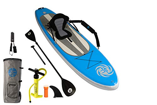 JLF 10' Blue Inflatable Stand Up Paddleboard and Kayak Hybrid Set Includes Paddleboard, Hand Pump, Detachable Seat, Convertible Paddle, Backpack, Carry Strap, Leash and Removable Center Fin (blue, 10)