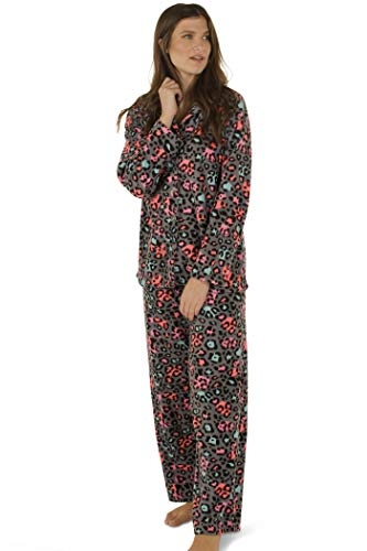 Totally Pink Women's Warm and Cozy Plush Fleece Winter Two Piece Pajama Set Teen and Girls (Medium, Leopard Colorful)