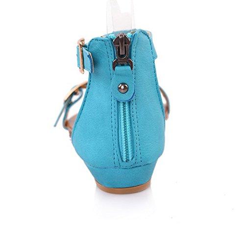 AllhqFashion Mujeres Cremallera Puntera Abierta Tachonado Sandalias de vestir Azul