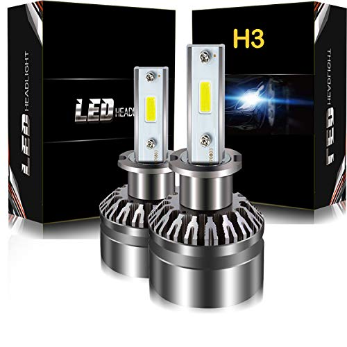 AUSI DOT Approved H3 LED Headlight Bulbs Conversion Kit D6 Series CSP Chips Fog Light Bulb- 6000LM 6000K Xenon White (2PCS) ()