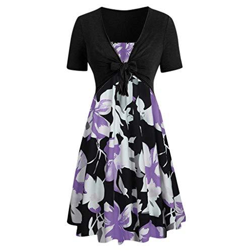 MURTIAL Women's Short Sleeve Bow Knot Bandage Top Sunflower Print Mini Dress Suits (Purple4,L) - Flower Yoke Top