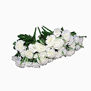 Ieoyoubei 4 Bunches Bouquet of Artificial Silk Flower Best White Carnations11 Bouquet and Green Leaf for Home Decoration Bridal Wedding Festival Decoration with 10 Per Bunch Flower 15