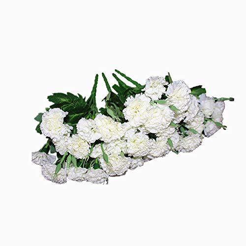 (Ieoyoubei 4 Bunches Bouquet of Artificial Silk Flower Best White Carnations11 Bouquet and Green Leaf for Home Decoration Bridal Wedding Festival Decoration with 10 Per Bunch Flower)