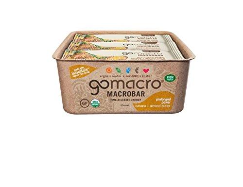 GoMacro MacroBar, Organic Vegan Protein Bar, Banana + Almond Butter, 2.3 oz...