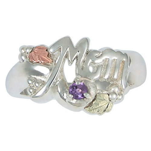 Amethyst 'Mom' Ring, Sterling Silver, 12k Green and Rose Gold Black Hills Gold Motif, Size 9 by Black Hills Gold Jewelry
