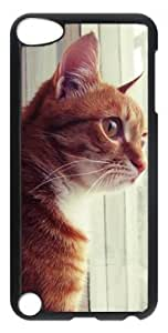 DIY Fashion Case for iPod Touch 5 Generation Black PC Case Back Cover for iPod Touch 5th with Curious Cat