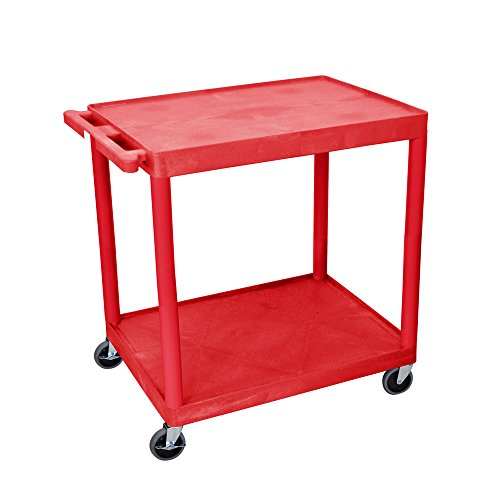 Luxor Utility Cart - Two Shelves Structural Foam Plastic Red