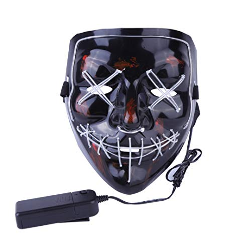 Halloween Mask LED Light Up Party Masks The Purge Election Year Great Funny Masks Festival Cosplay Costume BL ()