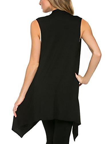 Cardigan Giubbotto Maniche Unique Senza Puro Baggy Maniche Colore Moda Elegante Irregolare Nero Donna Slim Blusa Casual Classica Top Senza Estivo Fit zzxnWr0A