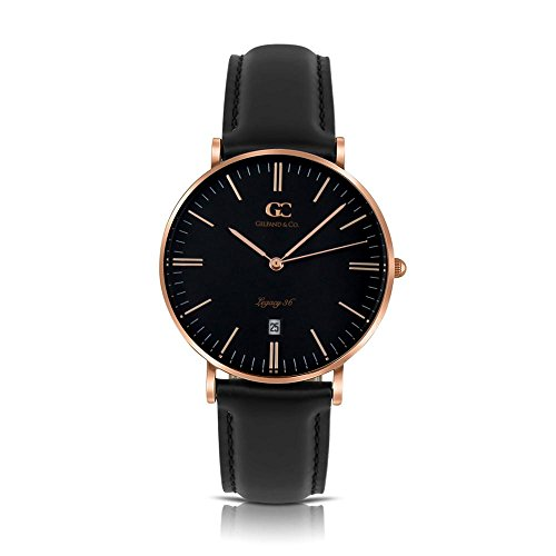 Gelfand & Co. Unisex Minimalist Watch Black Leather Varick 36mm Rose Gold with Black Dial