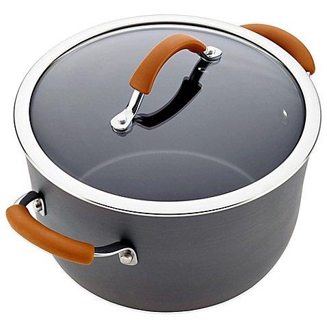 Rachael Ray Cucina 10 qt. Covered Stock Pot in Grey/Pumpkin