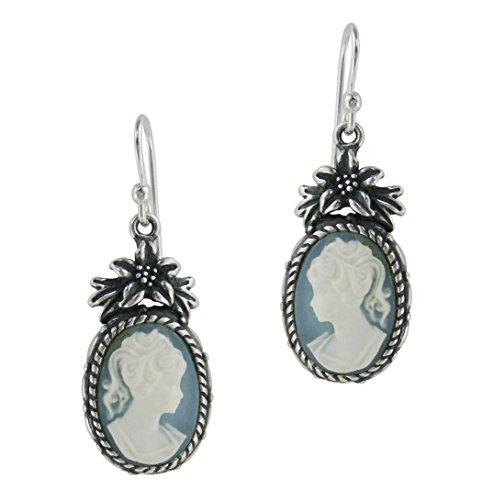 Sterling Silver Flower Topped Resin Cameo Earrings - Blue