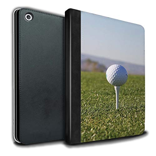 (STUFF4 PU Leather Book/Cover Case for Apple iPad 9.7 (2017) Tablets/Tee Up Design/Golf Sports Fan Collection)