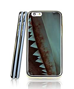 Personalized Funda Case For Iphone 6, Jaws Film Premium Simple Design Golden Bordered Silicone Gel + Clear 2 in 1 Compatible with Iphone 6 / 6s [4.7 inch]