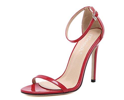 YCMDM d'estate donne della bocca classico della moda inarcamento di parola sandali dei pesci Tacchi alti , red , 40
