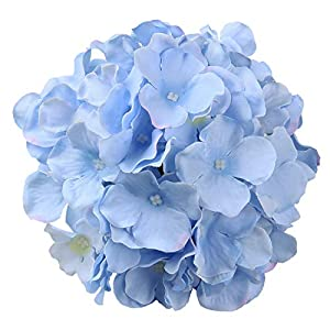 Flojery Silk Hydrangea Heads Artificial Flowers Heads with Stems for Home Wedding Decor,Pack of 10 (Blue) 2