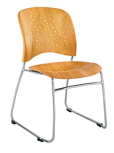 Safco Products 6810NA Reve Guest Chair Sled Base with Round Back, (Back Sled Base Wood Chair)