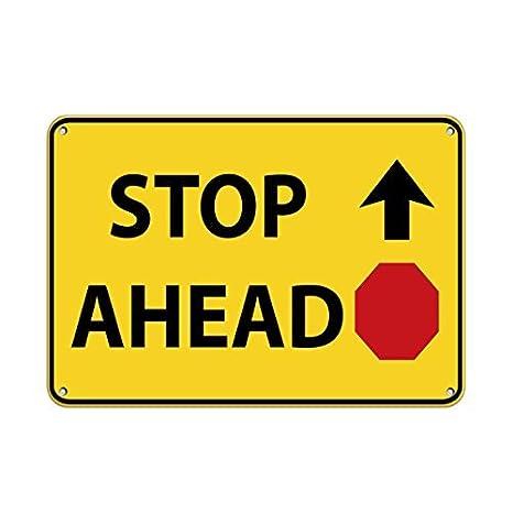 Amazon.com: Personalizado señales de metal stop por delante ...