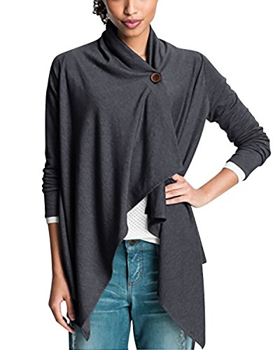 (Lanisen Women's Long Sleeve One Button Open Front Wraps Cardigan Blouse Top S-XL (L, Dark Gray) )