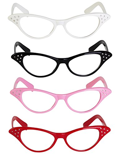 Retro Style Cat Eye Glasses With Rhinestones [Pack Of 4] 4 Bright Colors Red, Black, Pink, White, A Fun Costume Accessory, 50's 60's Party Favor ()