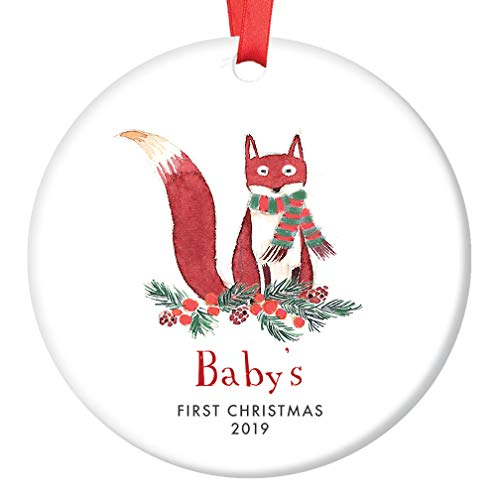 (Baby's First Christmas Ornament 2019 Cute Fox Newborn Boy Mommy Daddy 1st Holiday Infant Son Male Child Baby Shower New Parents Keepsake Present 3