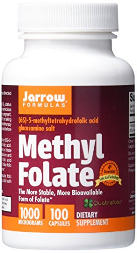 Jarrow Formulas Methyl Folate, Supports Brain, Memory, Cardiovascular Health, 1000 mcg, 100 (E 1000)
