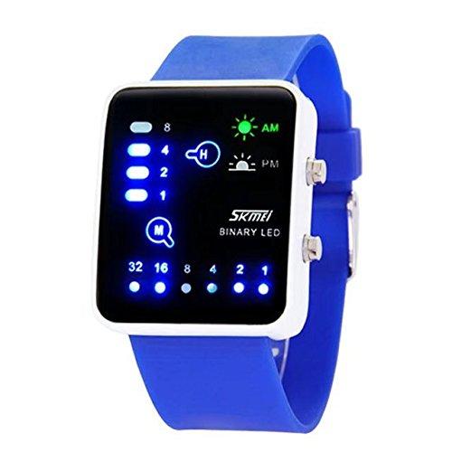 Children Watch Technological Sense Binary Digital Led Waterproof Unisex Sport Wrist Watches Blue