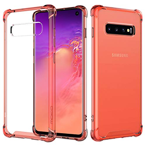 Orange Case Hard - MoKo Compatible with Galaxy S10 Case, Clear Reinforced Corners TPU Bumper and Anti-Scratch Rugged Transparent Hard Panel Cover Fit with Samsung Galaxy S10 6.1 inch 2019 - Clear Orange